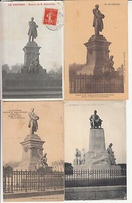 Lot de 4 cartes postales anciennes ols postcards LE CREUSOT statue E SCHNEIDER   eBay