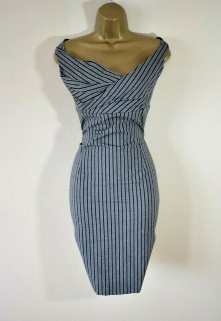 VIVIENNE WESTWOOD ANGLOMANIA Stunning Pinstripe TailGoldt Corset Wiggle Dress 40