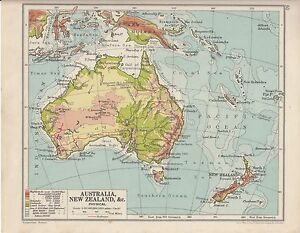 MAP AUSTRALIA NEW ZEALAND TASMANIA NEW GUINEA SOLMON - Map of australia and new zeland