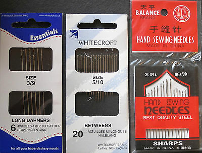 Hand Sewing Needles - Set of 3