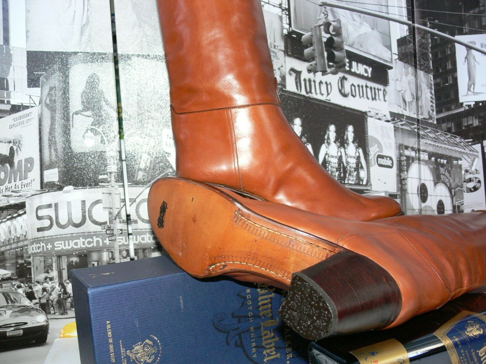 Vintage Tanino Stiefel Crisci Cognac Braun Tall Equestrian Leder Stiefel Tanino US 9.5 Gorgeous 7ed549