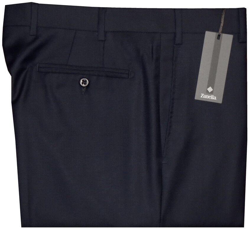 NWT ZANELLA DEVON SOLID DARK NAVY SUPER 120'S WOOL MENS DRESS PANTS 36