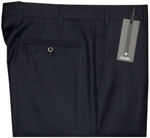 395-NEW-ZANELLA-DEVON-SOLID-DARK-NAVY-SUPER-120-039-S-WOOL-MENS-DRESS-PANTS-36