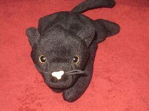 Ty Beanie Baby Velvet Black Panther Kitty Cat PVC Pellets Retired ... 63e9b63dc14