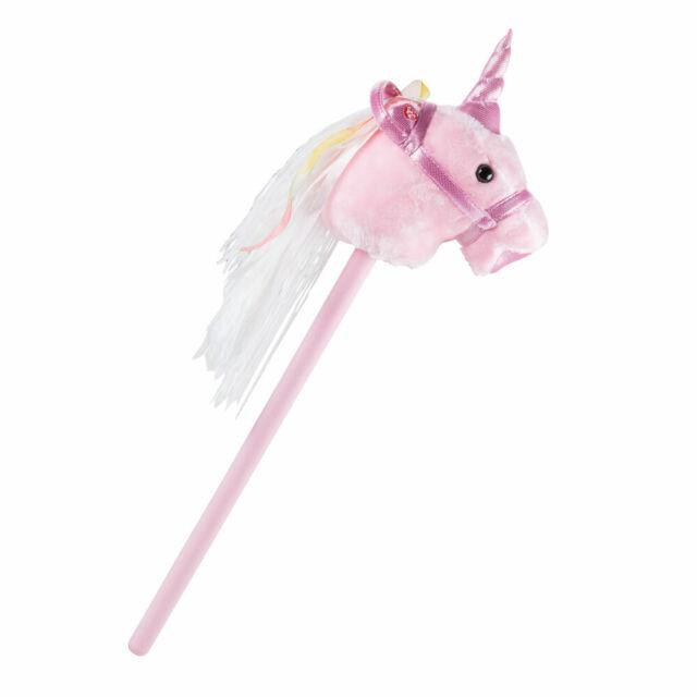 """Dinotoys  """"Unicorn"""" pink Steckenpferd Einhorn aus Plüsch Stockpferd Spielpferd"""