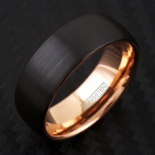 Noir brossé tungstène Bombée Or Rose Côté /& Inside Wedding Band Ring Taille 5-13