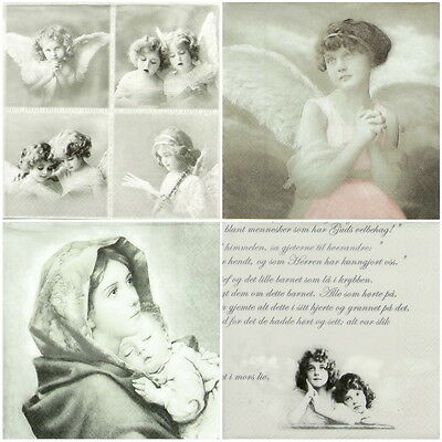 4x Paper Napkins for Decoupage Decopatch Craft Sagen Angels -Mix