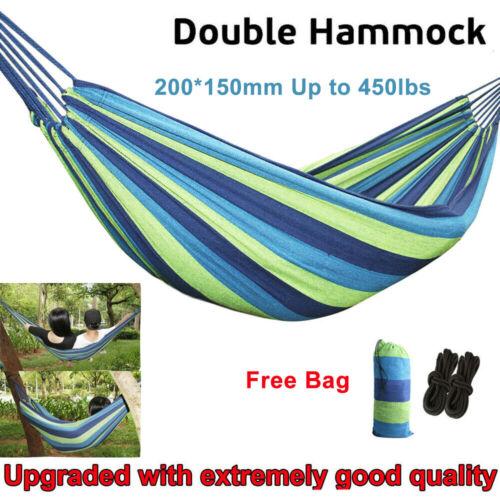 Portable Double Person Canvas Hammock Outdoor Camping Garden Beach Travel Swing
