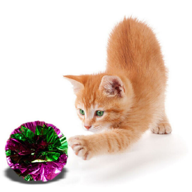 2PCS  Crinkle Crackle Paper Rustle Sound Ball Cat Kitten Pet Fun Play Toy  t8