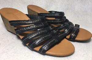 paul green pasadena black leather slides wedges sandals shoes sz 6 5
