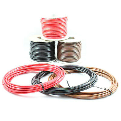 57 AMP Single Core Stranded Copper Cable 12v 24v Thin Wall Wire RED BLACK BROWN