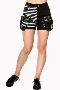 bbe33b5ed6 Half Black Half White Stripes Hot Pant Shorts Gothic Rockabilly ...
