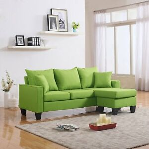 Astonishing Details About Modern Linen Fabric Small Space Sectional Sofa With Reversible Chaise Green Cjindustries Chair Design For Home Cjindustriesco