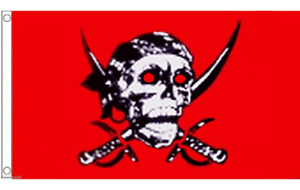 Pirate Skull and Sabres Red 5'x3' Flag