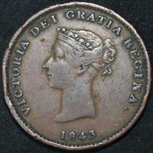 1843-Canada-New-Brunswick-Half-Penny-Token-Copper-Tokens-KM-Coins