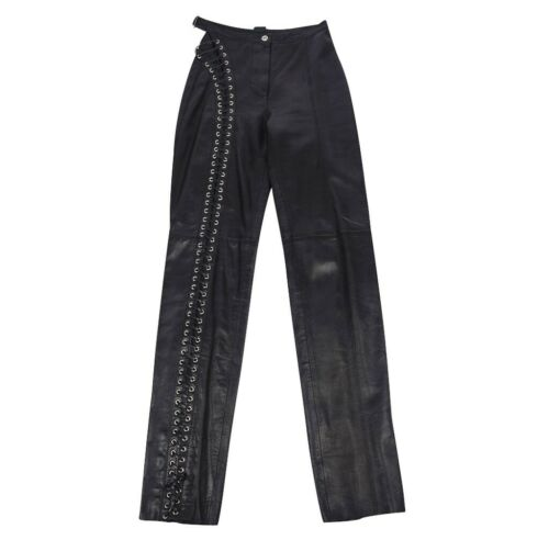 Gianfranco Ferre Pant Black Leather One Side Lace-