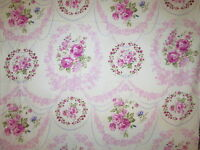 Antique Roses Vintage Flowers Pink Rings Cotton Fabric Bthy