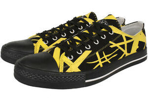 a62b7f8fb4 Image is loading EVH-Black-amp-Yellow-Low-Top-Sneakers-New-