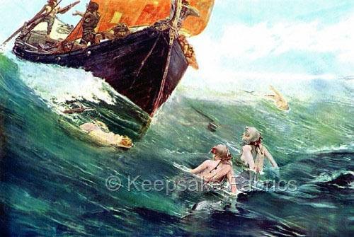 Mermaids Encounter Ship Fabric Applique Multi Sizes