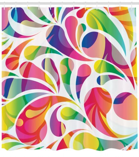 Colorful Abstract Shower Curtain Fabric Bathroom Decor Set with Hooks 4 Sizes