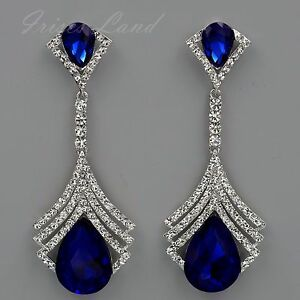 Image Is Loading Rhodium Plated Blue Crystal Rhinestone Chandelier Drop Dangle