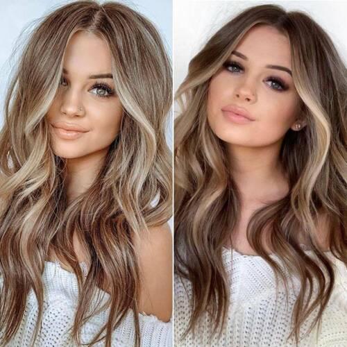 Women Natural Curly Wig Wavy Hair Brown Gradient Cosplay Christmas Wigs+Hair Net