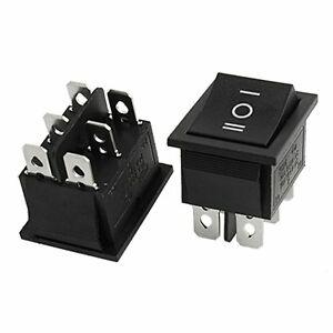 20x 10 Pcs SPST Mini Black 2 Pin Rocker Switch AC 125V 10A 250V 6A T2M5