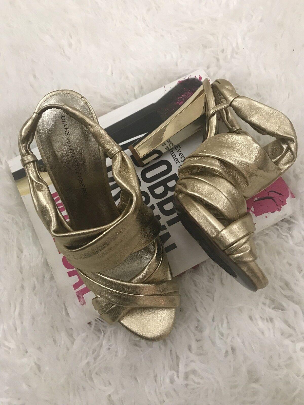 Diane von Furstenberg gold Very Soft Leather High Sandals Size 8