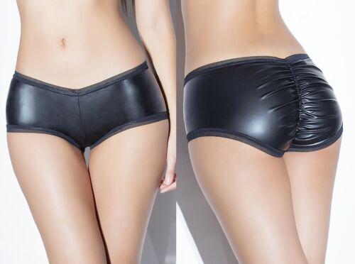 Black Wetlook Booty Shorts W//Ruching Sexy Fetish Mistress Dominatrix