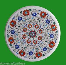 "18"" Marble Corner Table Top Carnelian Inlay Handicraft Work Home Decor"