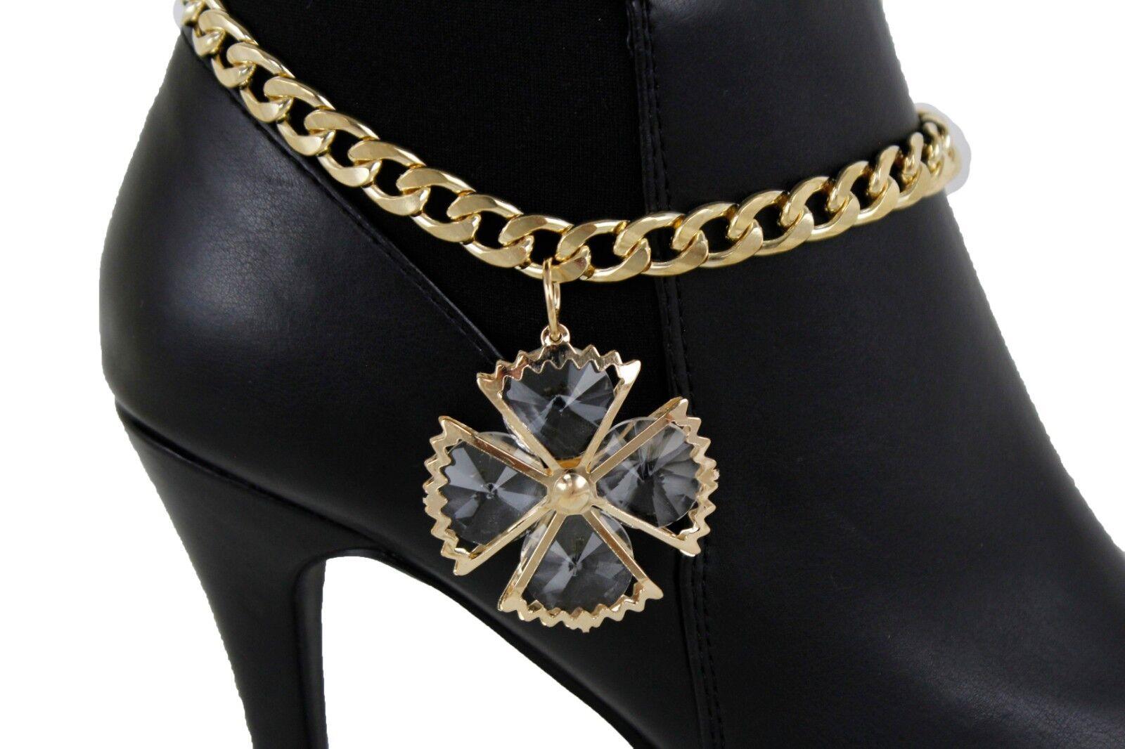 Western Women Gold Metal Chain Boot Bracelet Shoe Anklet Big Bling Flower Charm