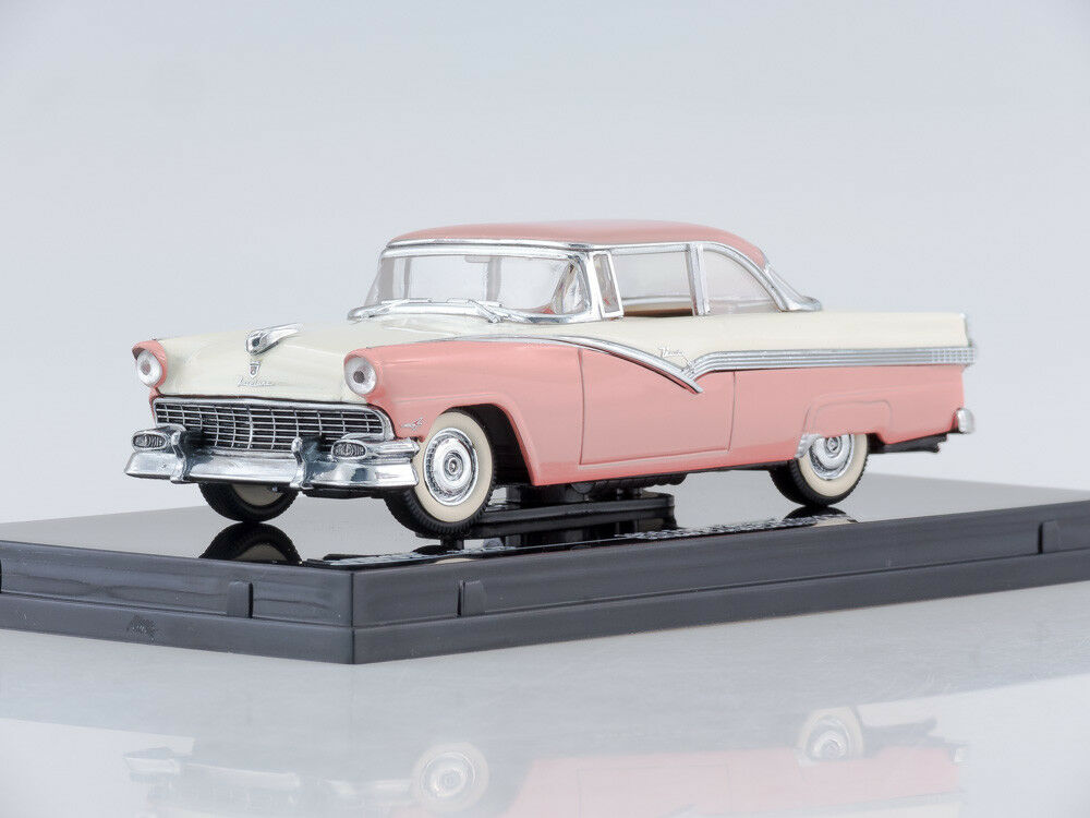 1 43 Scale model 1956 Ford Fairlane Hard Top (Sunset Coral Colonial White)