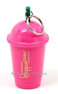 new starbucks pink frappuccino keychain cold cup tumbler with straw