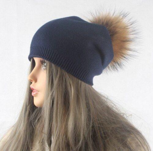 Women Beanie Winter Warm Hat Wool Knitted With Real Mink Fur Pom Poms Skullies