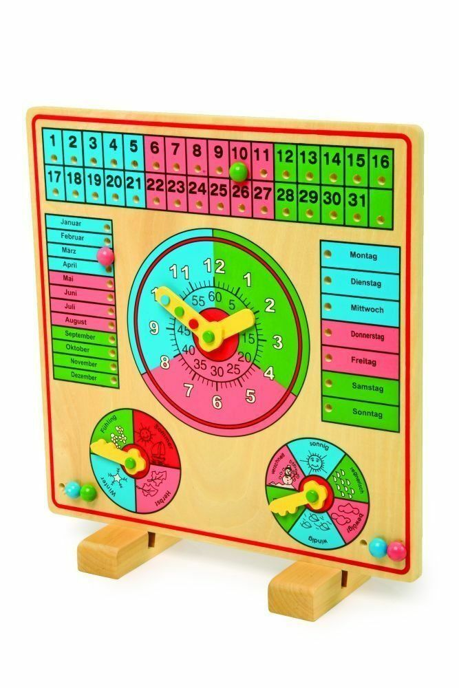 Nuevo Madera Clavijas Calendario Reloj Aprendizaje Deutsch Lengua Alemana