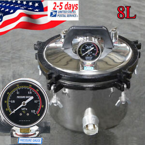 8L-Portable-Stainless-Steel-Dental-Pressure-Steam-Sterilizer-Dual-Heating-USA