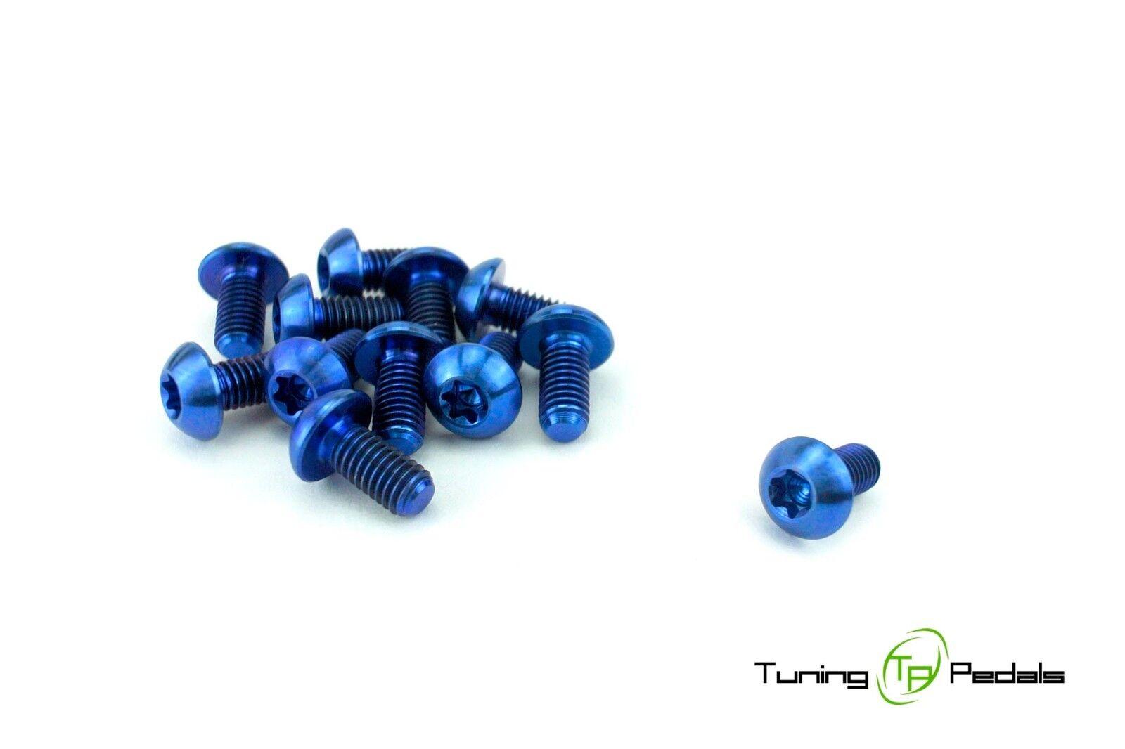 12 Brake Discs Set Titanium Screw M5 x 0 3 8in, blueeeeeeee