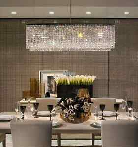 image is loading k9 crystal ceiling chandelier light modern dining room - Rectangular Pendant Light Dining