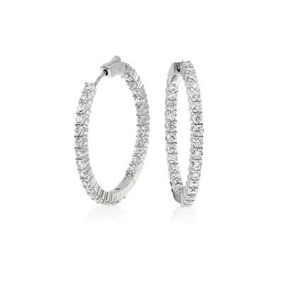 14k Yellow Gold Over Sterling Silver Round Diamond Stones Hoop Earrings