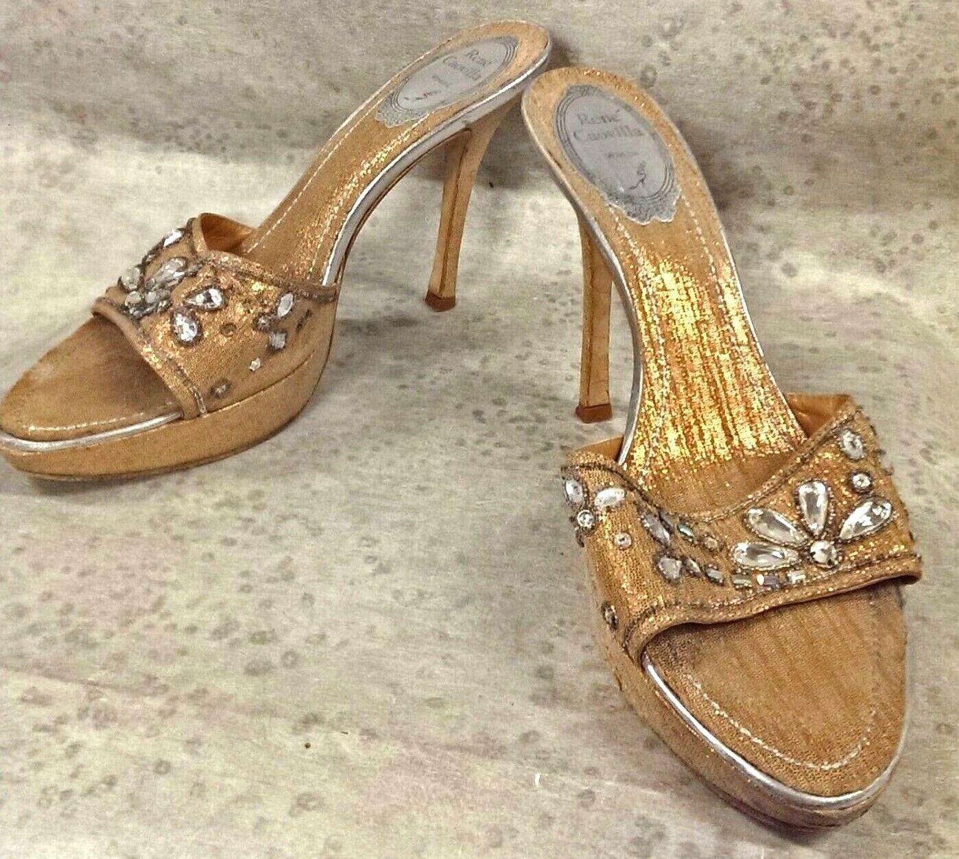 Rene Caovilla crystal high heel Sandals or shimmer 38.5 sz 7.5 M