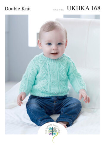 UKHKA 168 Baby Double Knitting Pattern Cable Knit Sweater Jumper /& Cardigans