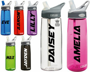 2 x Personalised Name Stickers Drinks Bottle Gym Bike Water Waltz 2 Font Sport