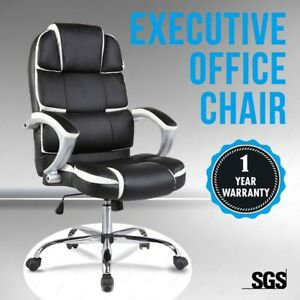 ERGONOMIC-OFFICE-CHAIR-LEATHER-HIGH-BACK-SWIVEL-HEIGHT-ADJUSTABLE-BLACK-amp-SILVER