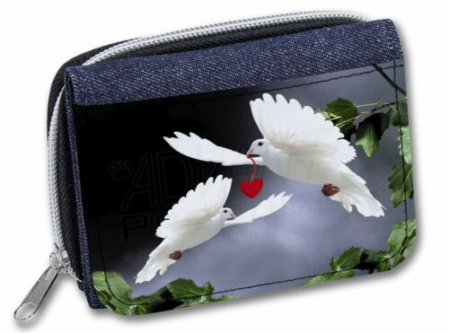 AB-D6JW Red Heart Girls//Ladies Denim Purse Wallet Christmas Gi Two White Doves