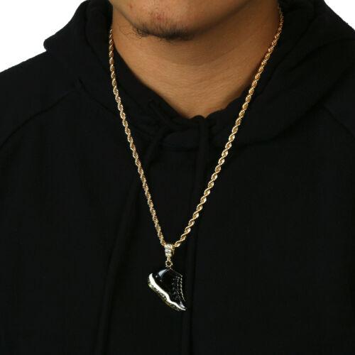 "Men 14k Gold Plated Hip Hop Retro 11 Space Jams Kicks Pendant 4mm 24/"" Rope Chain"