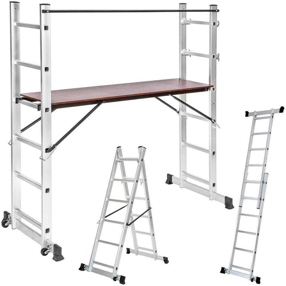 Escalera de Aluminio Multiusos Andamio Patas Protector Goma 160x70x165cm Nuevo