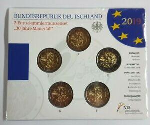 """5x 2 Euro Gedenkmünze BRD """" Mauerfall """" 2019 ST / Stempelglanz Blister ADFGJ"""