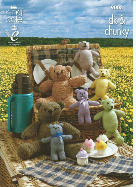 King Cole Teddy Bears Picnic Novelty Figures, DK & Chunky Knitting Pattern 9008