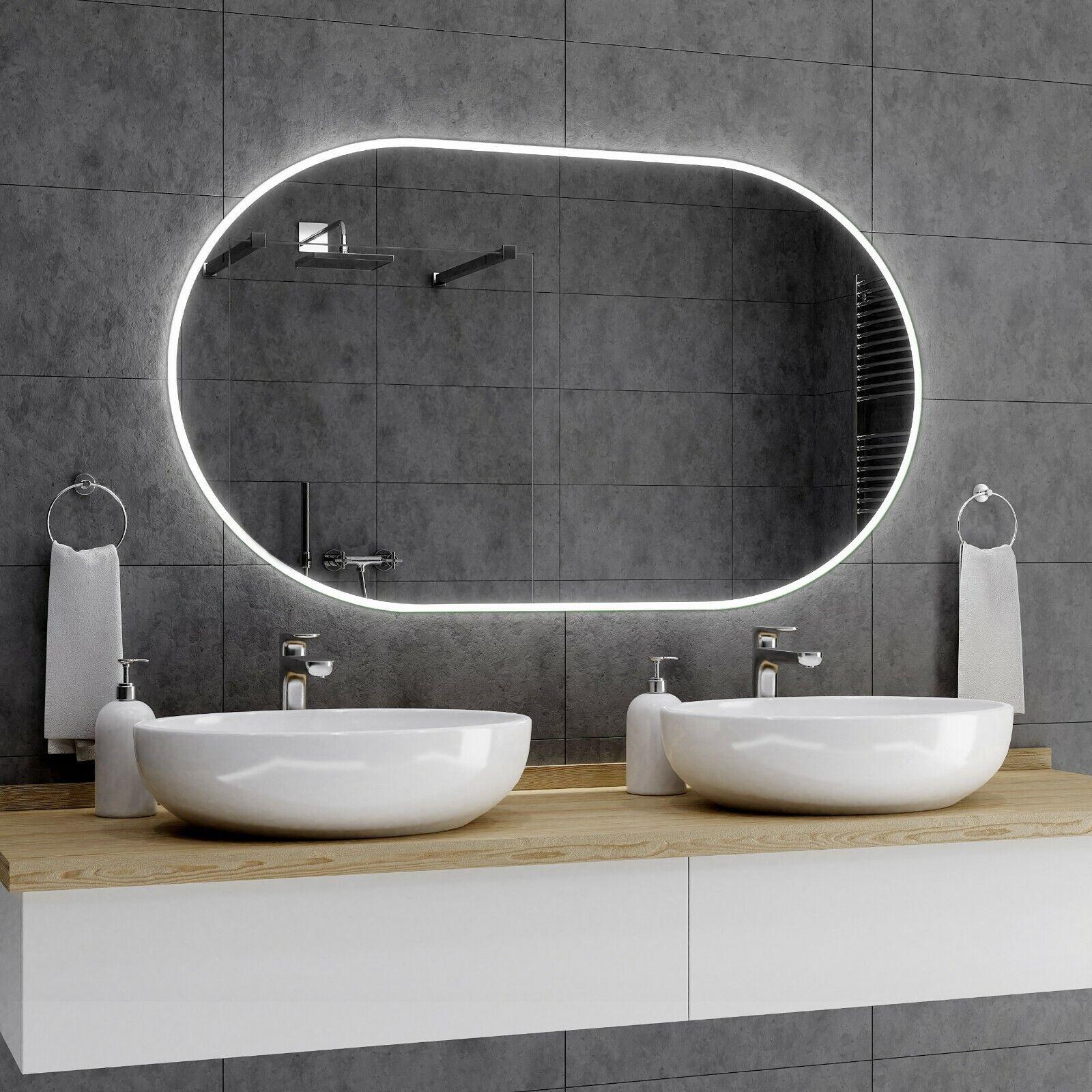 HAMBURG Badspiegel mit LED Beleuchtung Wandspiegel Badezimmerspiegel Maß A01