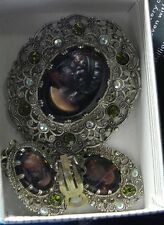 Vintage Marcasite Root Beer Glass Cameo Brooch/Pin and Earrings-- Marked Germany